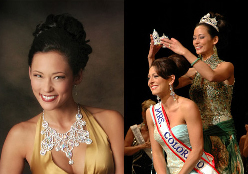 Left: Jennifer Lamont: 2005 Mrs. Colorado; Right: Marney Duckworth being crowned: 2006 Mrs. Colorado