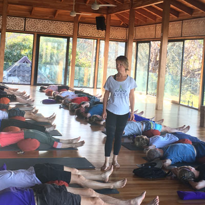 Dr. Lori Kemmet DDS of Incredible Smiles in Boulder, CO teaches Avita Yoga at a recent retreat in Costa Rica