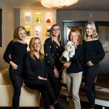The Incredible Smiles team: Dr. Lori Kemmett, DDS; Dr. Alyssa Ellsworth, DDS; Anna Shockley, Gina Traugutt, hygienist, Meisha Sloat -assistant and Charlie the calming, service dog